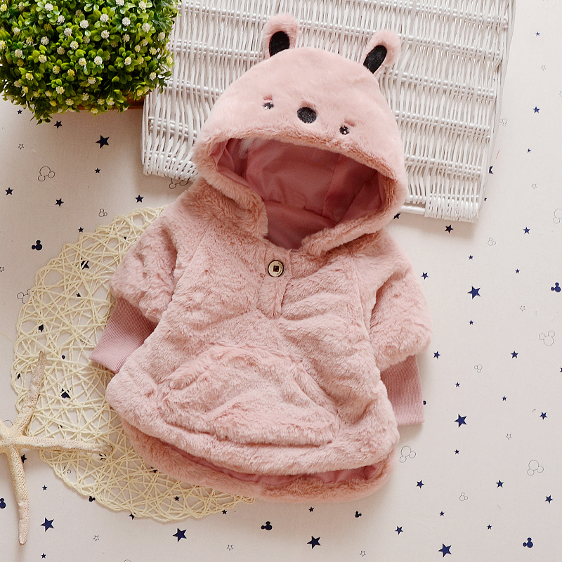 New Brand Girls Winter Coat Lovely Solid Fashion Kids Baby Girl Warm Clothes Latest Girls Children Clothing Bear Hat Jacket immdos children coat for girl winter wool outerwear kids long sleeve hooded warm baby clothing girls solid fashion jacket