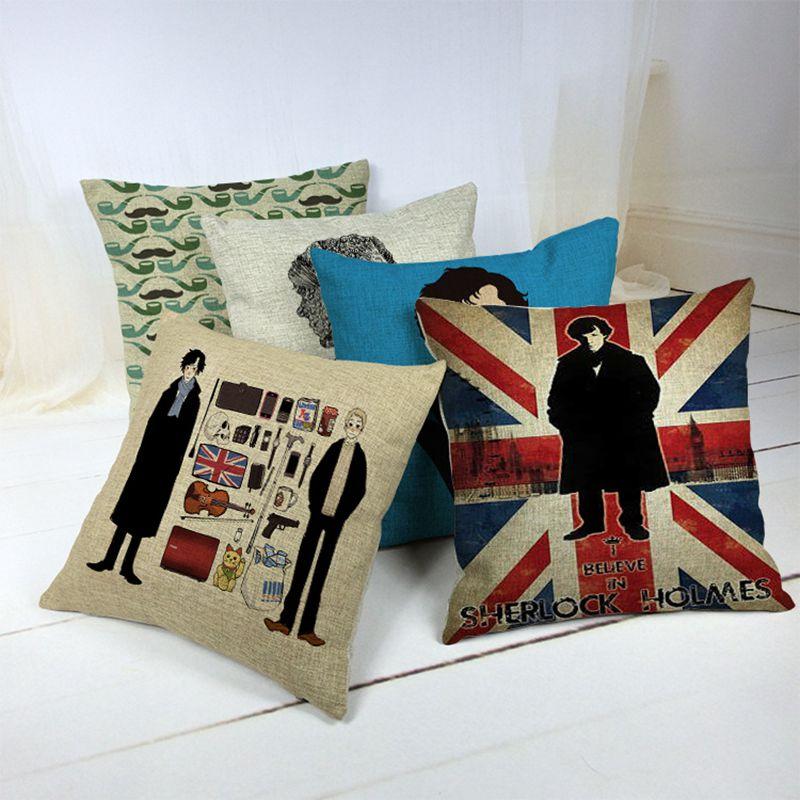 Sherlock Holmes Series Patterns Linen Cotton Cushion Cover Creative Cushion House Decor sofa throw pillows Cushion Cover 45*45cm