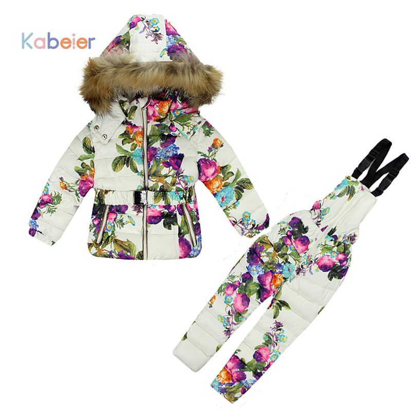1 - 2Y Baby Girl Winter Clothing Set For Girls Flowers Down Coat +Overalls Suits Warm Windproof Snowsuit Toddler Ski Suit