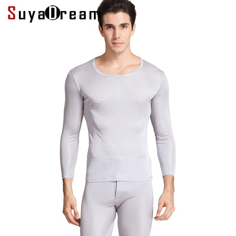 Men Long Johns 100%Natural Silk Round neck Thermal Underwear For Men Fall Winter Underwear Set