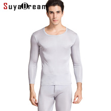 Men Long Johns 100%Natural Silk Round neck Thermal Underwear