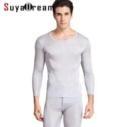 Ropa interior térmica de cuello redondo de seda Natural 100% para hombre, conjunto de ropa interior de otoño-invierno