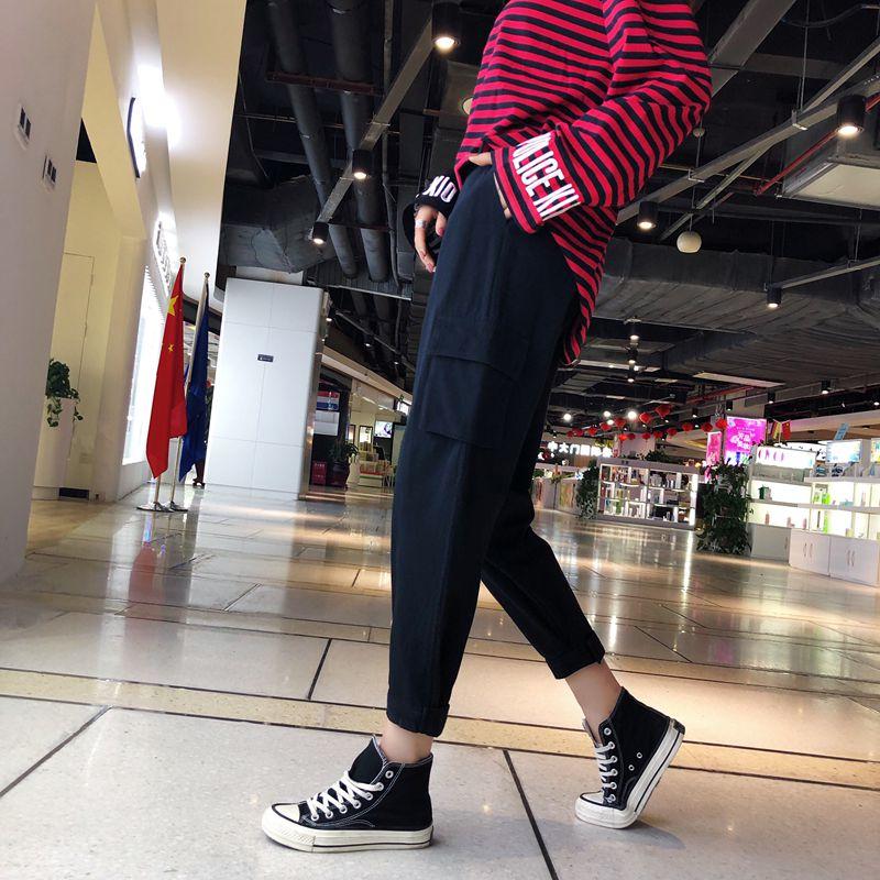Medio Nueva De Chica Mujeres Dongdongta 2019 Moda Carga Pantalones Sueltos Black Cintura TXUwxqax