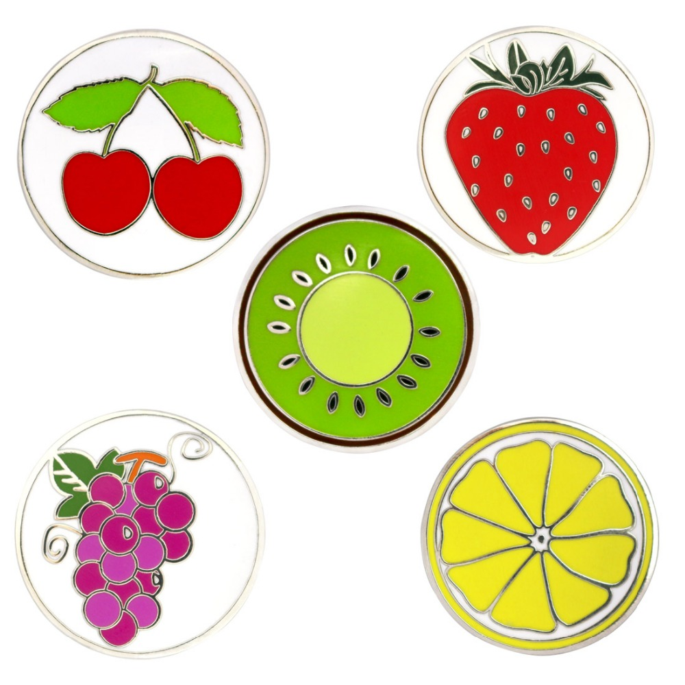 Fruit Golf Ball Marks With Magnetic Golf Hat Clip (5 Sets!!!)