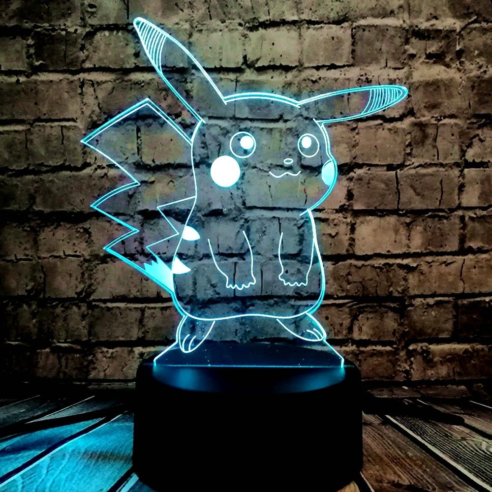 GORĄCA SPRZEDAŻ Japoński Cartoon Rysunek 3D LED Lampa USB Pokemon - Lampki nocne