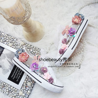 Canvas Shoes flower gentle shoe tie Strap diamond Casual rhinestone student Big code casual flat shoes small white shoe girl