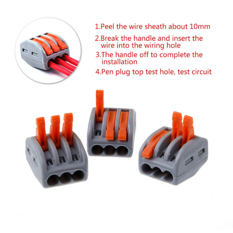 10 Pcs 222 413 Push Wire Connector Lever Terminal Block Lever Nuts 3 ...