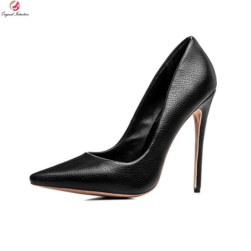 Original Intention New Arrival Women Pumps Mature Pointed Toe Thin High Heels Sexy Black Shoes Woman Plus US Size 3-10.5 plus big size 34 47 shoes woman 2017 new arrival wedding ladies high heel fashion sweet dress pointed toe women pumps a 3