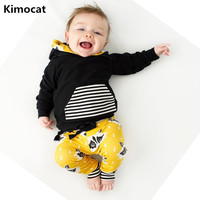 2016 Fall Baby Boy Clothing Newborn Baby Long Sleeve Stripe Hooded Sweater Fox Pants Baby Boy