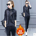 2017 Young women suits Qiu dong add wool two-piece hooded high quality thermal thick loose South Korea clothes B069