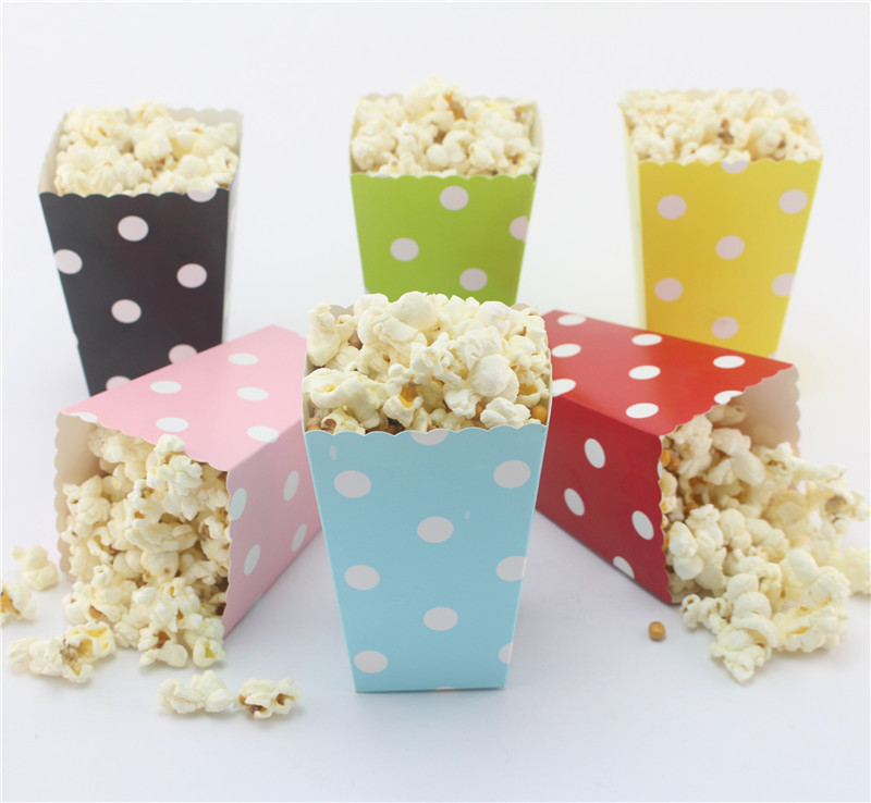 free dhl 720pcs paper popcorn polka dot party favor boxescandy buffet treat snack gift