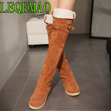 Faux Suede Slim Boots Sexy over the knee high women fashion winter thigh high Round Toe boots shoes woman 2018 Big Size 34-43 jyrhenium 2018 new arrival big size 34 43 slim boots sexy over the knee high women fashion winter thigh high boots shoes woman