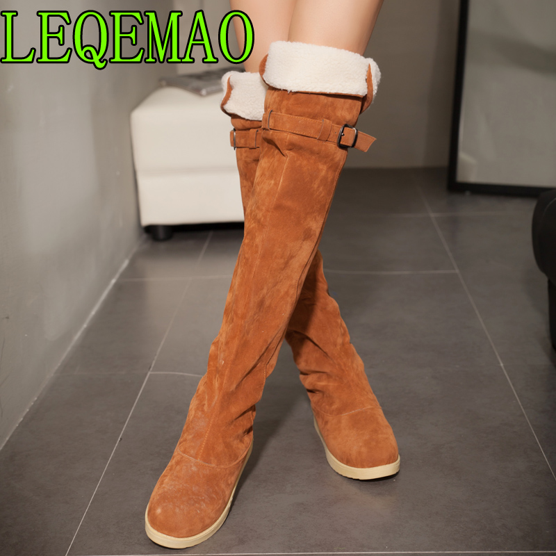 Faux Suede Slim Boots <font><b>Sexy</b></font> over the knee high women fashion winter thigh high Round Toe boots <font><b>shoes</b></font> woman <font><b>2018</b></font> Big Size 34-43 image