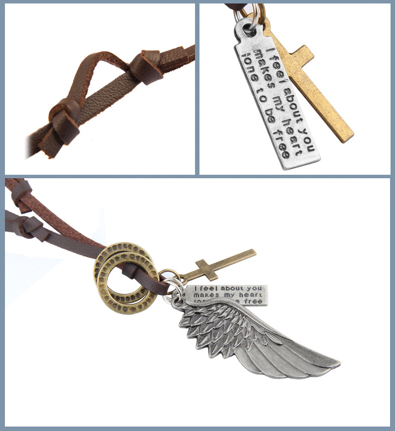 NIUYITID Feather Angel Wings Necklace & Pendants Vintage Brown Leather Neckless For Women Men Jewelry Boys Necklace Three Style (2)