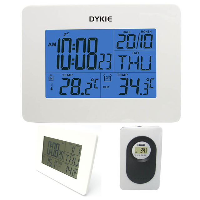 RF Wireless Home Weather Station Pure White with Digital Alarm ...