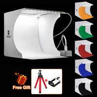 PULUZ 20*20cm 8 Mini Folding Studio Diffuse Soft Box Lightbox With LED Light Black White Photography Background Photo Studio box