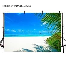 Photography Backdrop Summer Blue Sky Sea Sunny Beach Coconut Tree Background Photophone Photocall Photo Studio Prop F3261