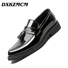 DXKZMCM Handmade Men Dress Loafers Microfiber Leather Formal Business Oxfords Shoes Men's Flats for Party