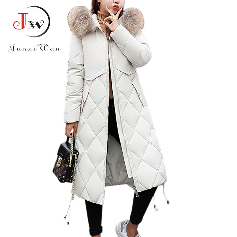 fded64c4ec7 Detail Feedback Questions about Long Thick Parka Jacket Winter Women Jacket  Big Fur Hooded Winter Coat Warm Down Cotton Jackets Women jaqueta feminina  Plus ...