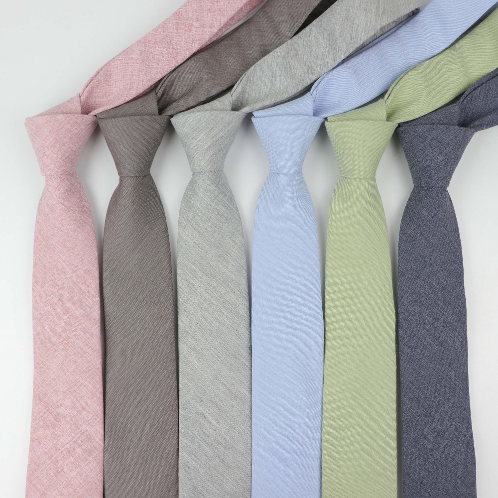 High Quantity Cotton Ties Men's Solid Color Tie Narrow Necktie Slim Skinny Cravate Narrow Thick Neckties