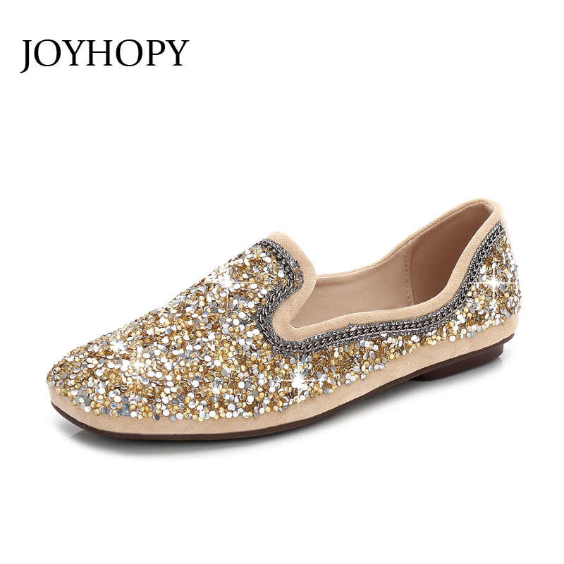 JOYHOPY Spring Summer Glitter Sequin Ballet Flat Shoes Women Square Toe  Shallow Top Loafers Flock Soft 599f376a9bef