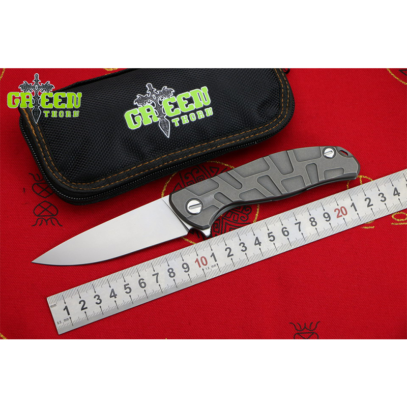 GREEN THORN T Pattern F95 Flipper folding knife D2 blade Titanium handle bearing Outdoor camping hunting