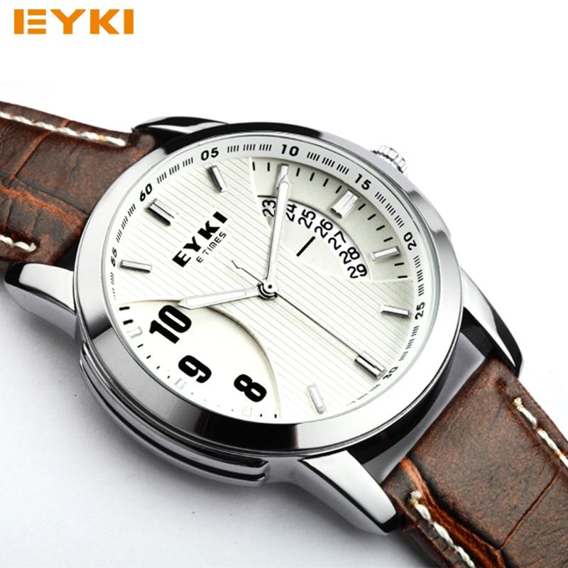 Prix pour Relogio masculino d'origine EYKI Nouvelle Marque Hommes Montre En Cuir Quartz Montres Hommes Militaire Montre Homme Horloge Homme Casual Montres