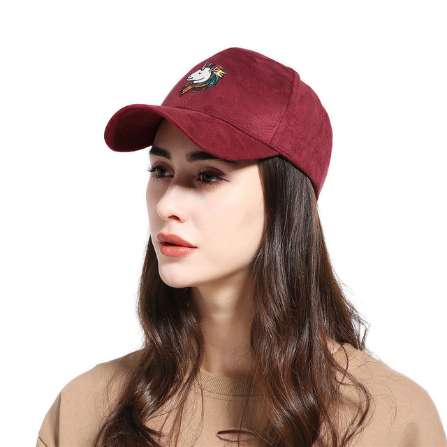 Unicorn Embroidered Suede Women's Cap