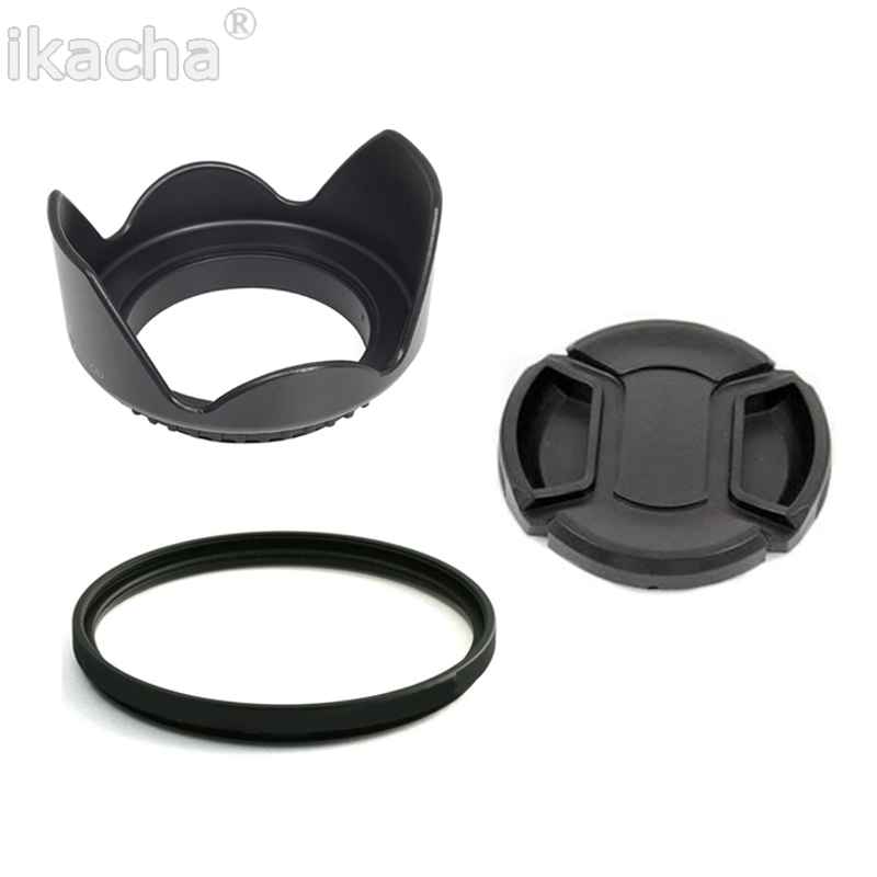 52mm Flower Lens Hood + Lens Cap + UV Filter For <font><b>Nikon</b></font> D5200 D5100 D3100 D3200 D3000 And <font><b>18</b></font>-55mm 55-<font><b>200mm</b></font> Camera image