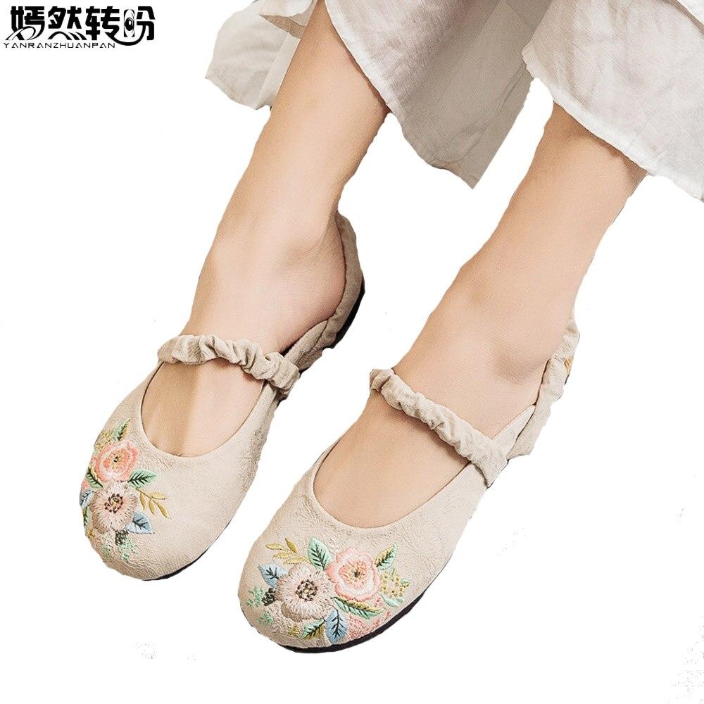 2019 Frühling Sommer Frauen Hausschuhe Baumwolle Leinen Sandalen Frauen Zwei Tragen Weichen Boden Nationalen Schuhe Für Hanfu Bestickt Hausschuhe