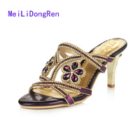Summer Gold Purple Rhinestone High Heel Sandals Sweet Open Toe Thin Heel Crystal Princess Shoes Cool