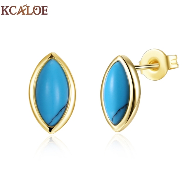 Kcaloe Blue With Stones Women Earrings Fashion Gold Color Geometry Earring Natural Stone Stud