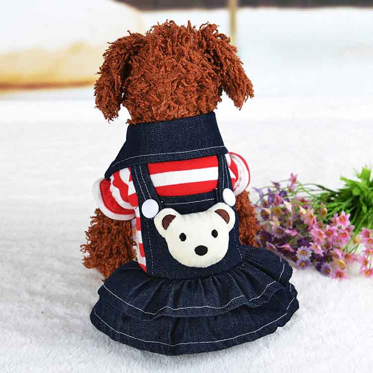 2016 Winter Warm New Dog Dress for Dog Clothes High Quality Jean Pet Clothes Fashion Striped Pets Dogs Princess Dresses Balck Red1
