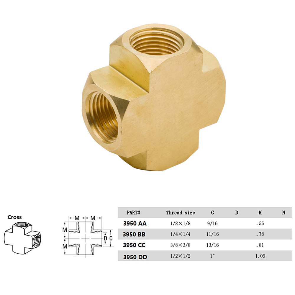 2pcs 1 8 4 3 2 Way Cross Brass Hose Tube Fitting Tee Joint With NPT Female ThreadModel 3950 In Pipe Fittings From Home Improvement On