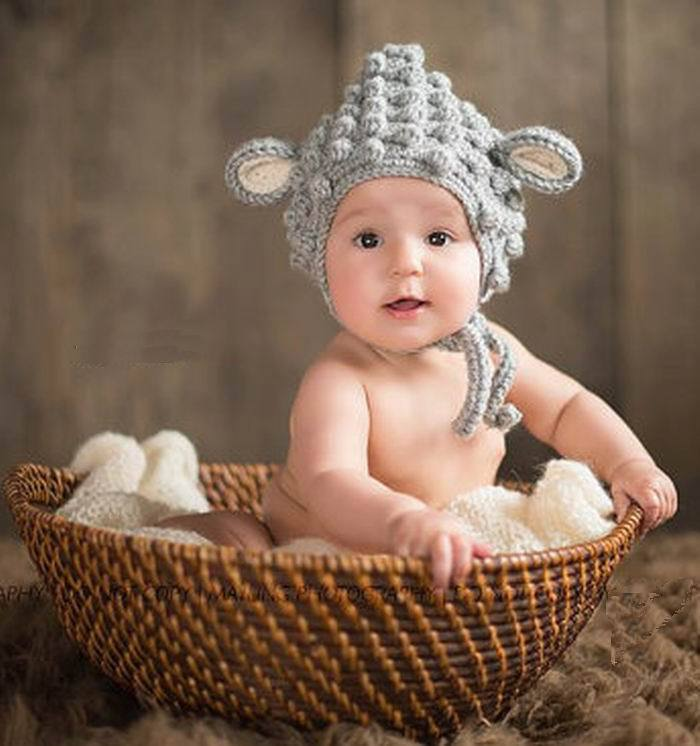 Newborn baby handmade beanies cartoon cute sheep costume knitted crochet photography props newborn photo baby props hat caps in hats caps from mother