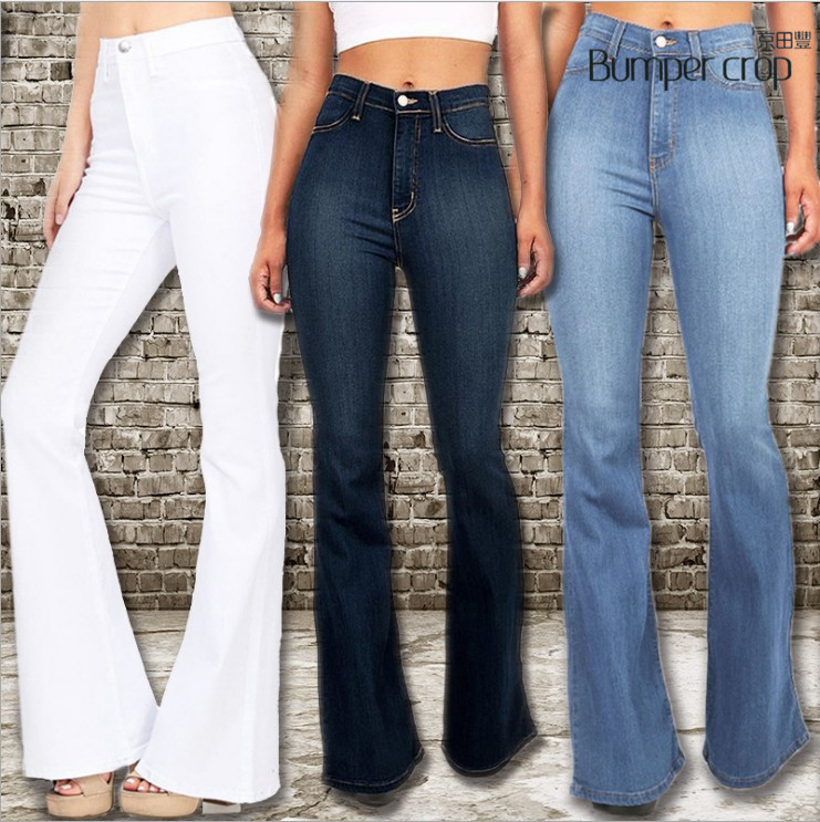 Genuine BUMPERCROP wide leg pants femme xxl blue white sexy street oversized   jeans   women mom high waist skinny   jeans   medium
