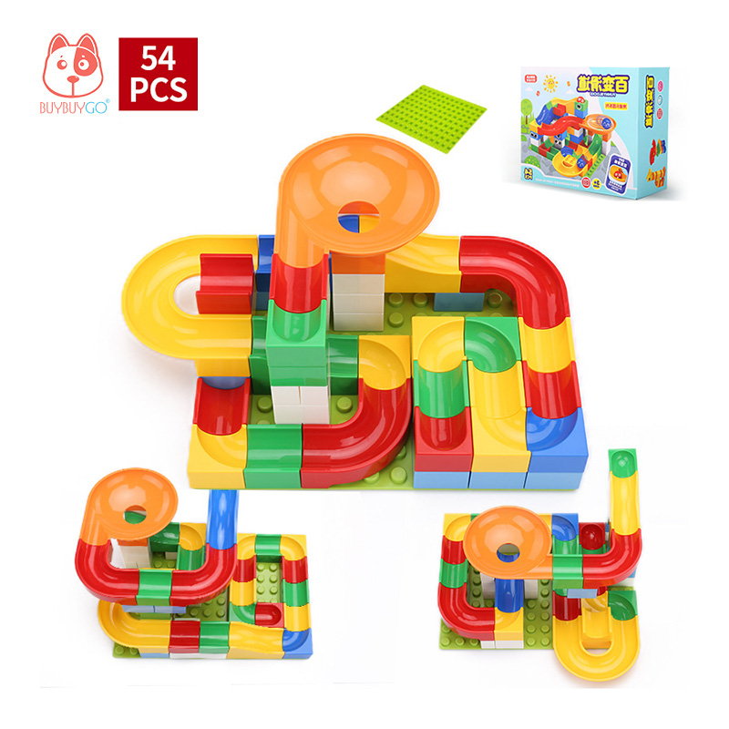 54 PCS Track Building Blocks DIY Construction Marble Race Run Maze Balls (Include Block Base Plate), Kids Educational Block Toys 50pcs diy construction marble race run maze balls track building blocks children gift baby kid s educational toy