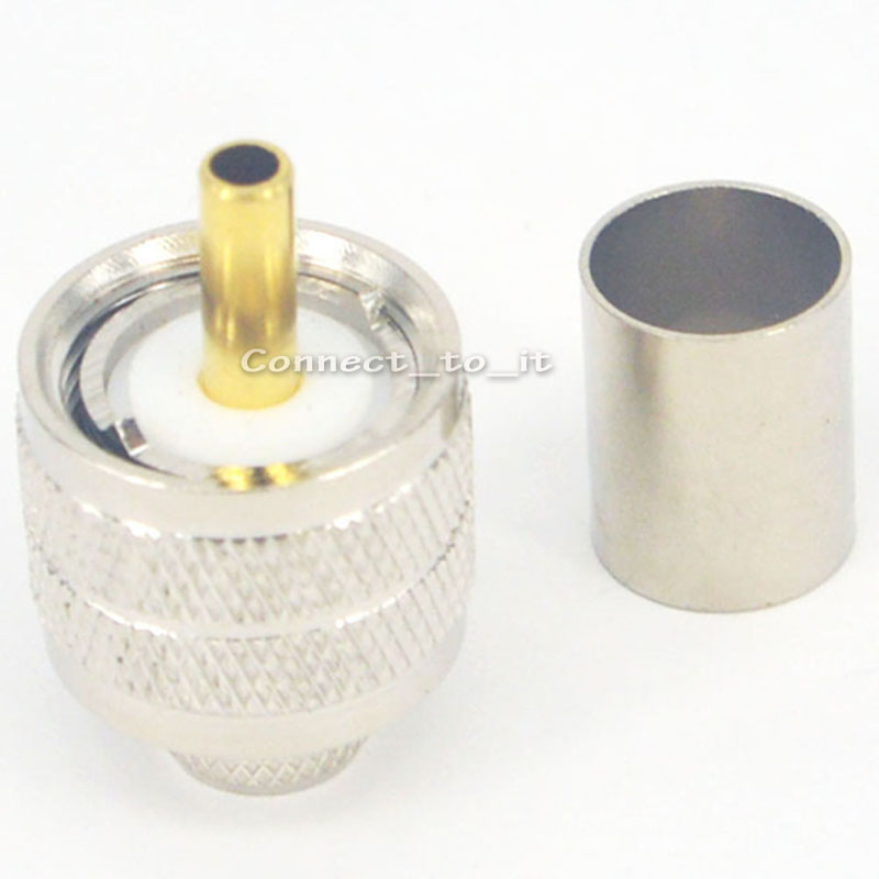 RF Coax Adapter Nickel Plated UHF Male Straight Connector for RG58 LMR195 Cable