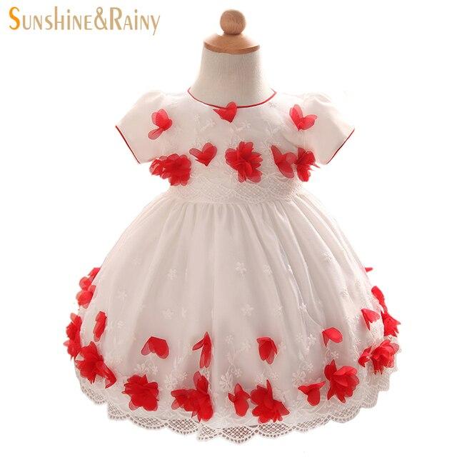 Солнечный Дождливый Цветок Девочки Свадьба День Рождения Dress Кружева Вышитые Девочка Партии Юбки Платья Принцессы Младенческой Детская Одежда