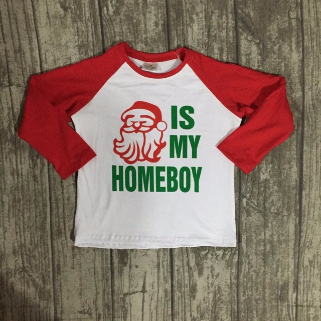 christmas fallwinter baby boys children santa claue is my homeboy boutique cotton top t