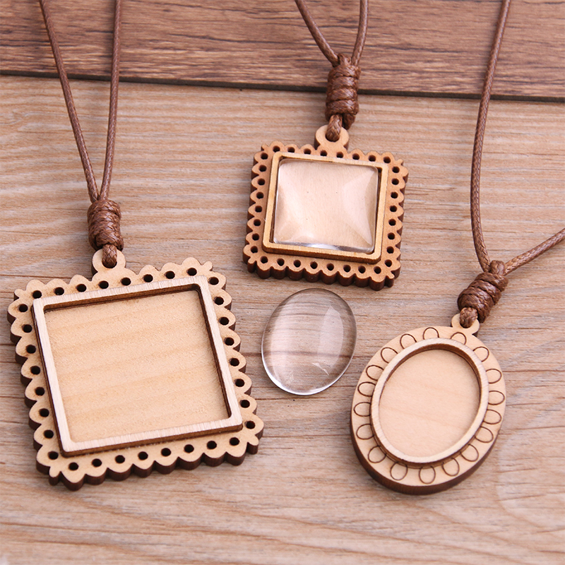 PULCHRITUDE 2pcs 3 Style Wood Cabochon Settings Blank Cameo Pendant Base Trays With Leather Cord For Jewelry Making 8E
