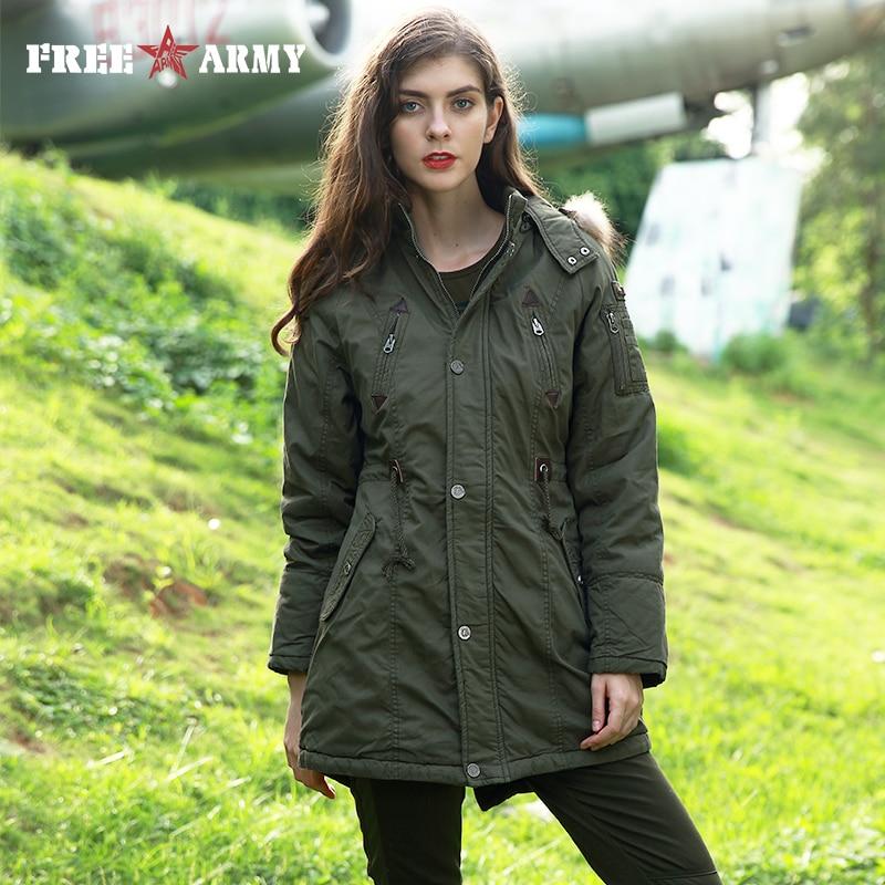 FREE ARMY Parkas Autumn Winter Jacket Coat Women Thick Warm Fur Collar Jacket Female Military Green Hooded Winter Jacket Outwear