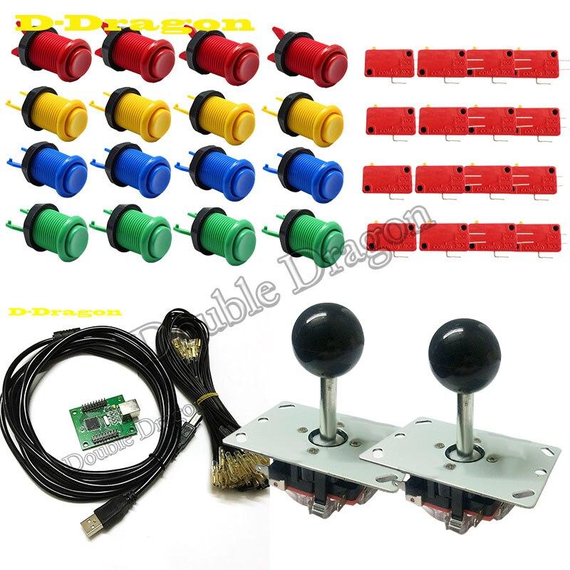 DIY Arcade parts Bundles kit for 2 players Jamma USB control board to PC PS3 4/8 way zippy Joystick,Happy style Push buttonto