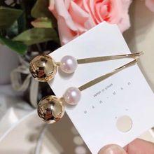 Женские металлические прямые заколки в Корейском стиле с перламутровым блеском, металлический золотой шар, заколки для волос, заколки для волос