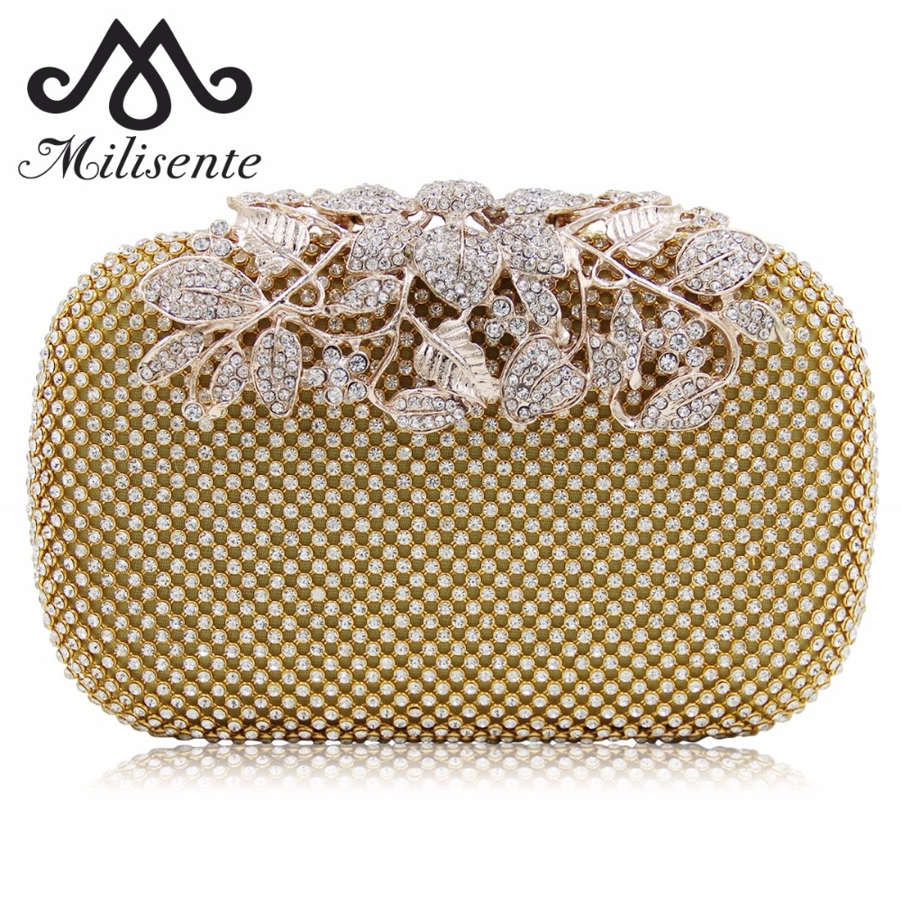 Milisente Silver Clutch Rhinestone Bag Women Bags Lady Wedding Clutches Party Purse milisente brand women evening bags top quality fantasy rose party purse clutches wedding bag