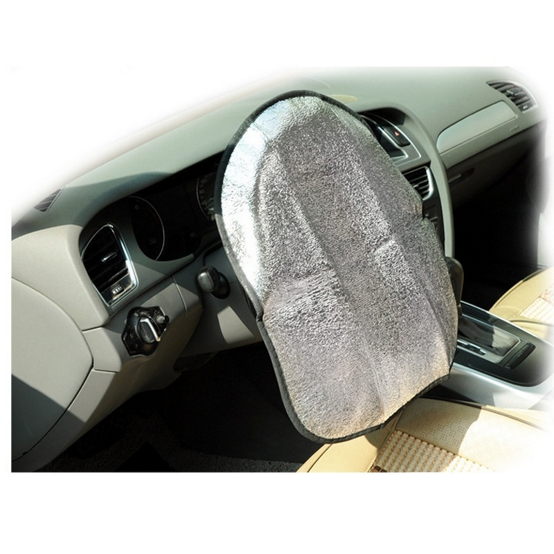 20pcs Car Steering Wheel Sunshade 2 Layer Silver Auto Sun Shade Sun Protection Jacket Insulated Aluminum Foil Handlebar Cover