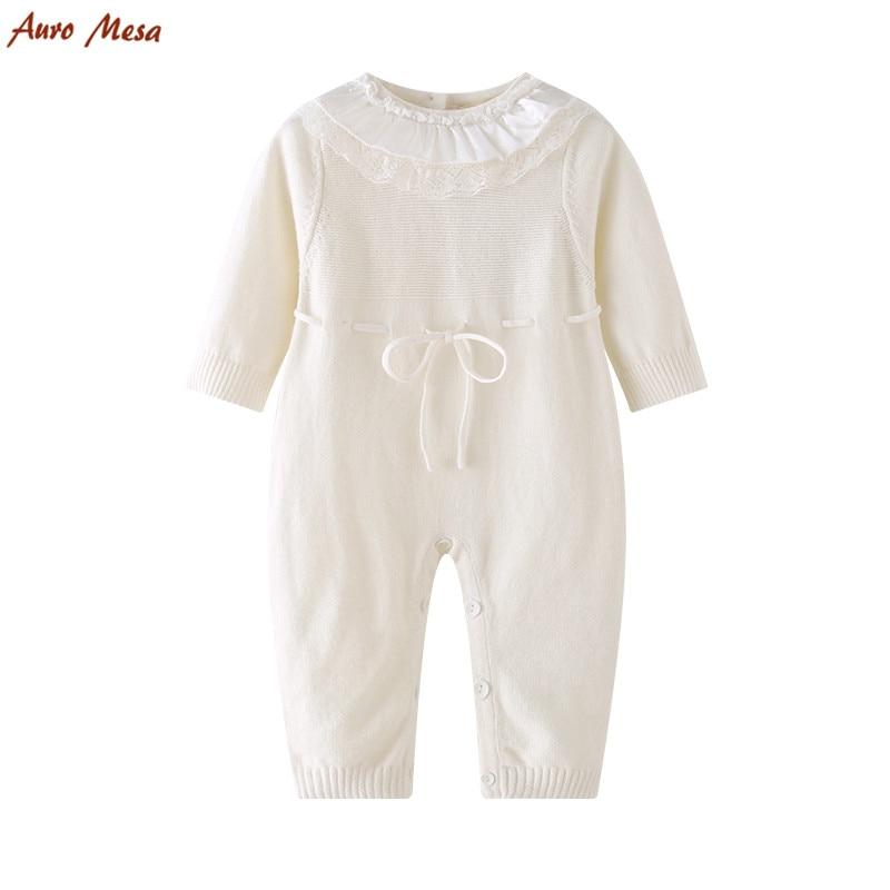 Auro Mesa Baby-gebreide Romper Wit kanten O-hals babykleding uit één stuk Katoen Zacht baby meisje Jumpsuit