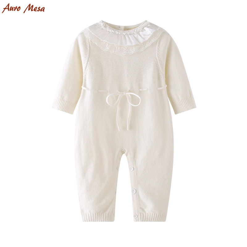 Newborn Baby Girls Knit   Romper   Jumpsuit White Lace one piece baby clothes Cotton Infant Girl White outfits