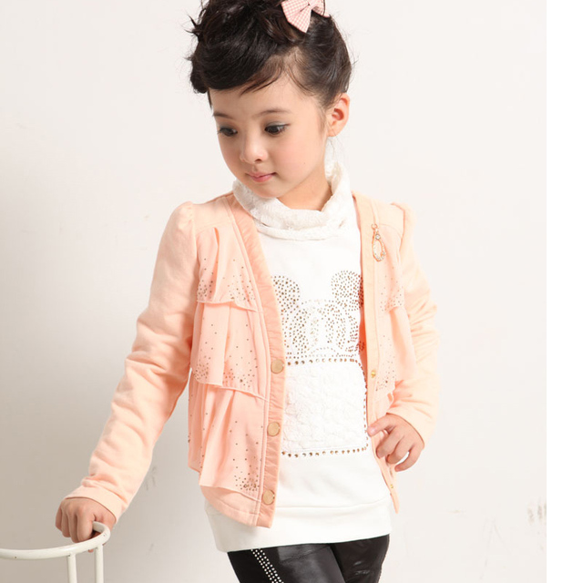 684843bb5 Girls' spring clothing children's coat Girls pink jacket brief paragraph 5  6 7 8 year-old for kids girl fashion cotton clothes