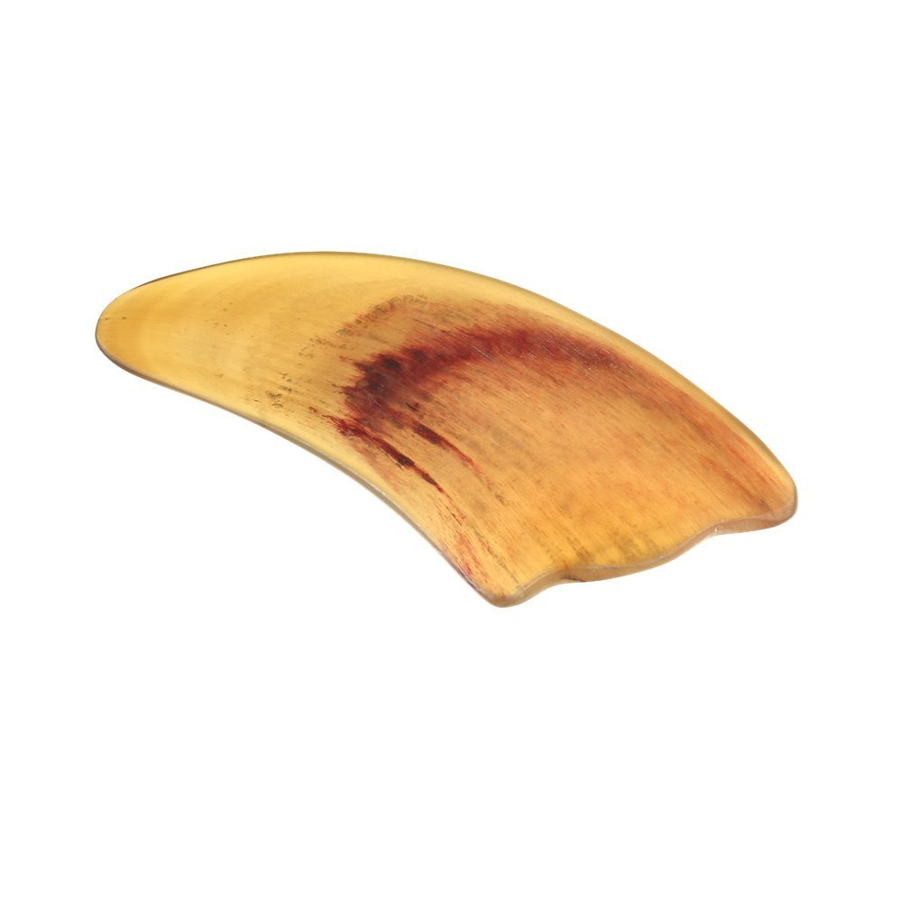 Scrapping Plate Tradition Chinese Scrapping Ox Horn Plate Massage Tool Facial Therapy Tool Health Yellow